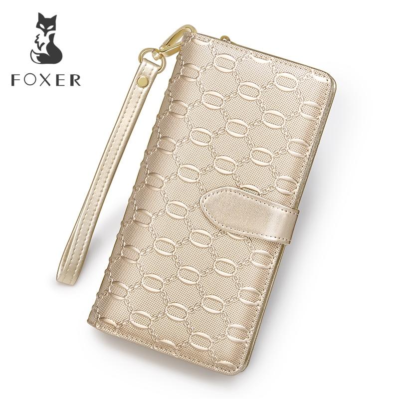 FOXER Brand Women Leather Long Wallet Fashion Wristlet Clutch Purse For Lady Cellphone Bag With Wrist Strap Wallets for Women in Wallets from Luggage Bags