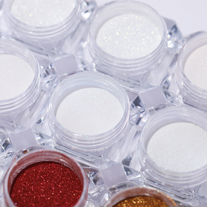 1 Box Mirror Glitter Nail Chrome Pigment Dazzling DIY Salon Micro Holographic Powder Laser Nail Art Decorations Manicure Dust in Nail Glitter from Beauty Health