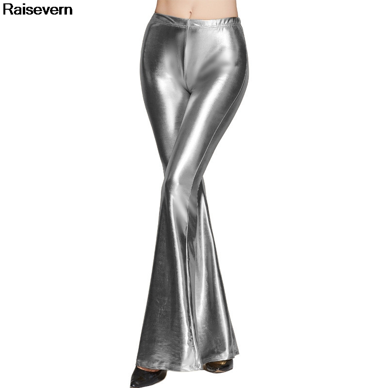 New Sequin Silver   Pants   Women New Fashion Slim Fit Sexy High Waist   Pants   Casual Full Length Long Trousers Feamle   Wide     Leg     Pants