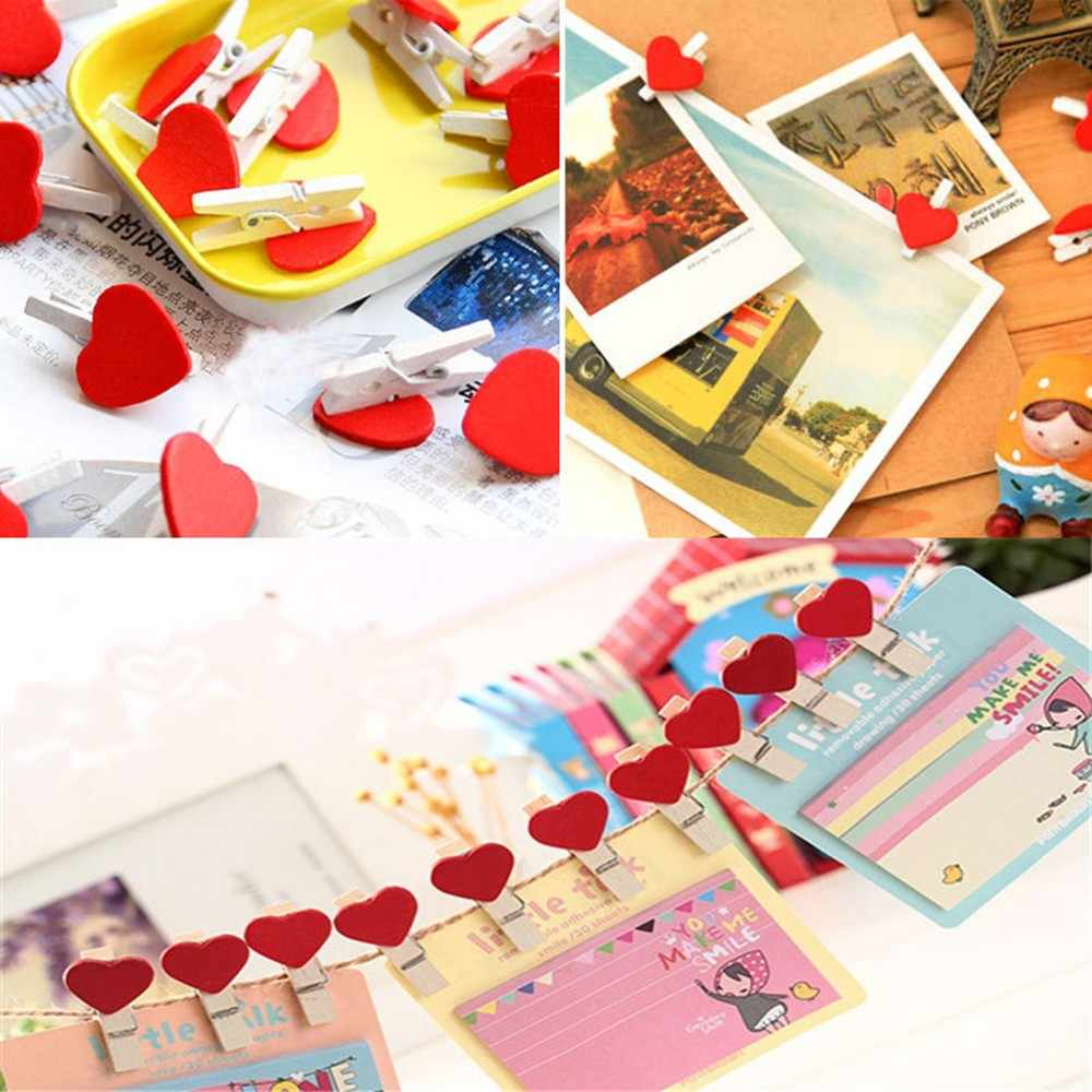 10/20/50Pcs Mini Hati Cinta Kayu Pakaian Foto Kertas Peg Pin Jepitanku Kerajinan Postcard Klip Rumah dekorasi Pernikahan