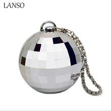 2016 neue Ballsaal Reflektierende Ball Abendessen Tasche Geldbörse Lady Partei Taschen Luxus Silber Spiegel Acryl Tageskupplung Bankett Schminktäschchen