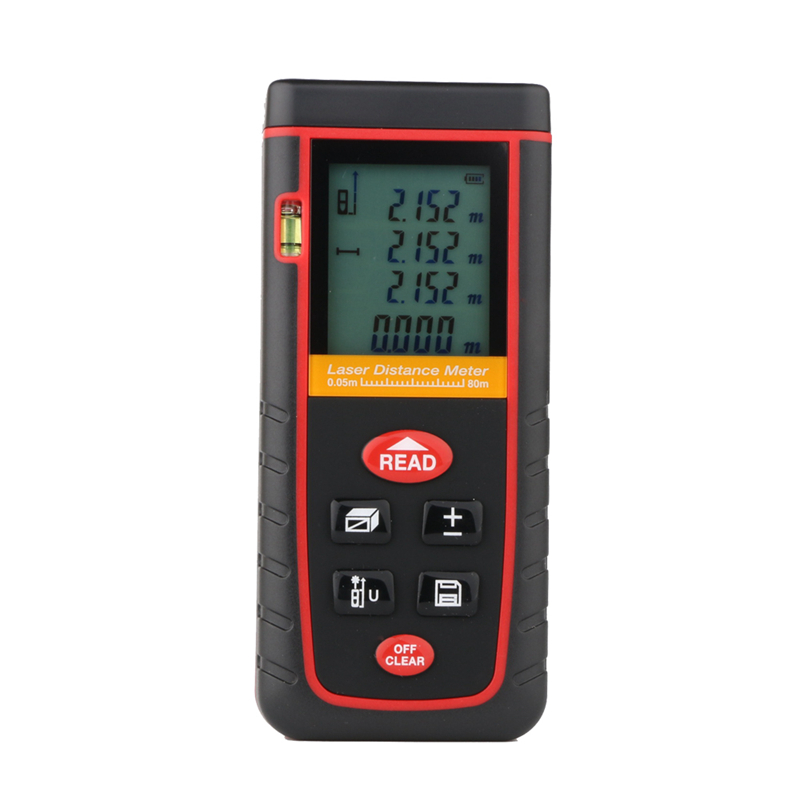 ФОТО 80M Digital Laser Distance Meter 262ft Handheld LCD Rangefinder Level Bubble Distance Area Volume Telemetre Laser Tape Tools