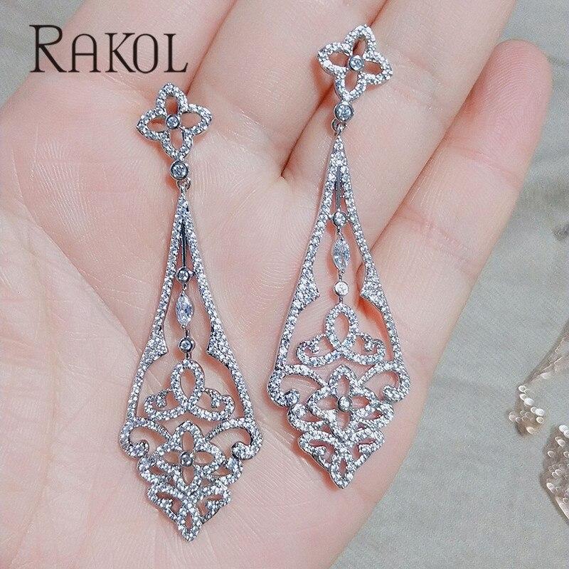 RAKOL Drop-Earrings Jewelry-Accessories Cubic-Zircon Exquisite Women New-Fashion