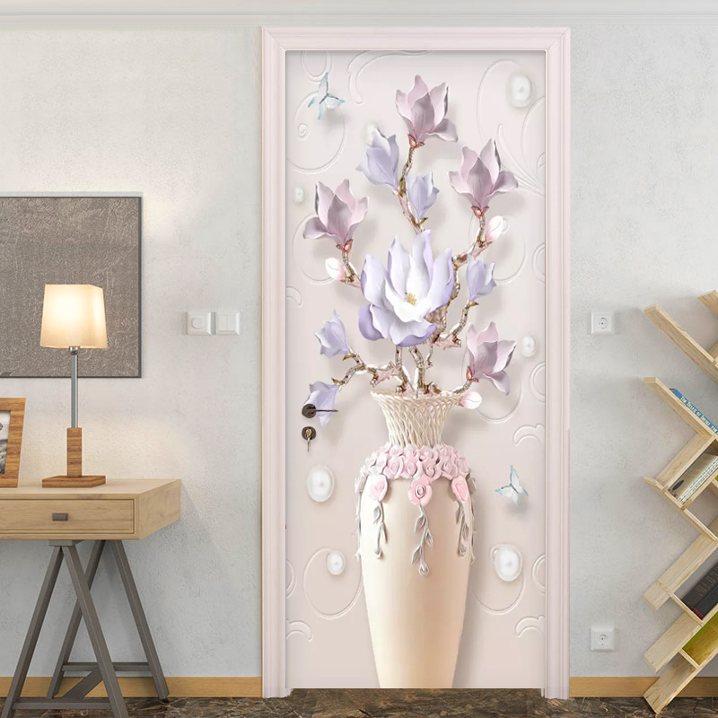 Modern Simple Embossed Vase Flowers Photo Wallpaper 3D Living Room Bedroom Door Sticker PVC Self Adhesive Waterproof Wall Papers