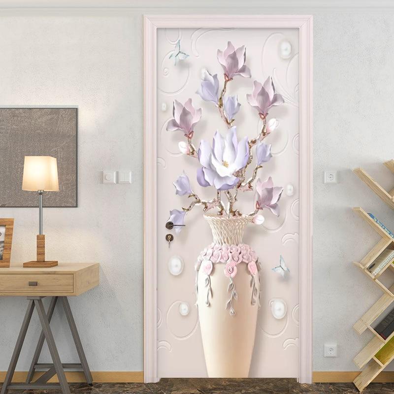 Modern Simple Embossed Vase Flowers Photo Wallpaper 3D Living Room Bedroom Door Sticker PVC Self Adhesive Waterproof Wall Papers