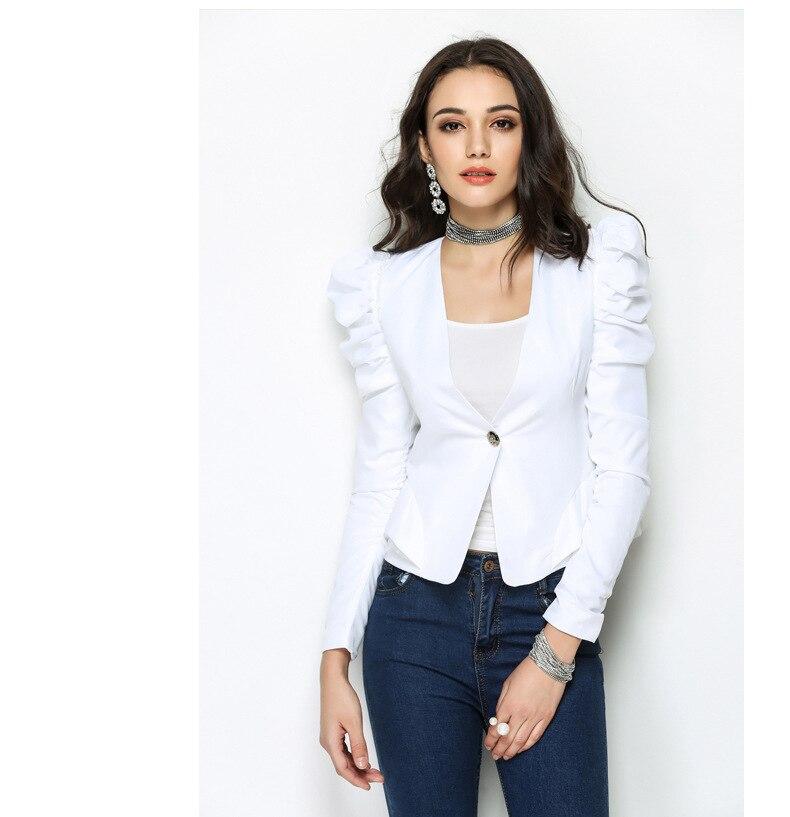 Blanc noir lanterne manches haut blanc femmes bouton femelle 2018 printemps automne bureau dame hauts à la mode col roulé HY-34