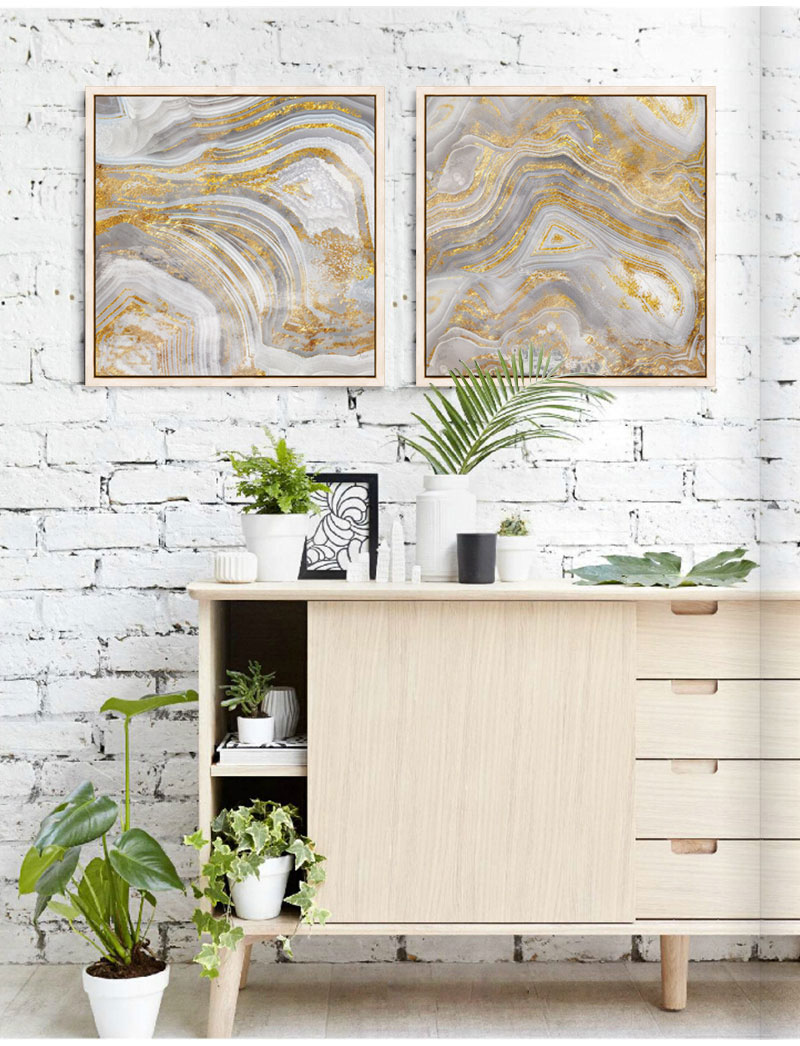 Gold abstract modernos canvas pictures for living room posters and paintings home decor Jade texture cuadros painting No frame