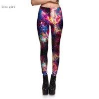 Toptan Sıcak yeni Kadınlar Seksi Evren Galaxy Renkli Baskılı Tayt Pantolon Esneklik Moda Uzay Batik Süt İpek S-4XL