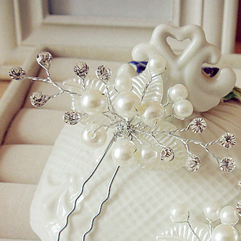 2017 perle fleur feuille épingle à cheveux Vintage nuptiale casque argent mariage épingles à cheveux bijoux femmes accessoires strass coiffure