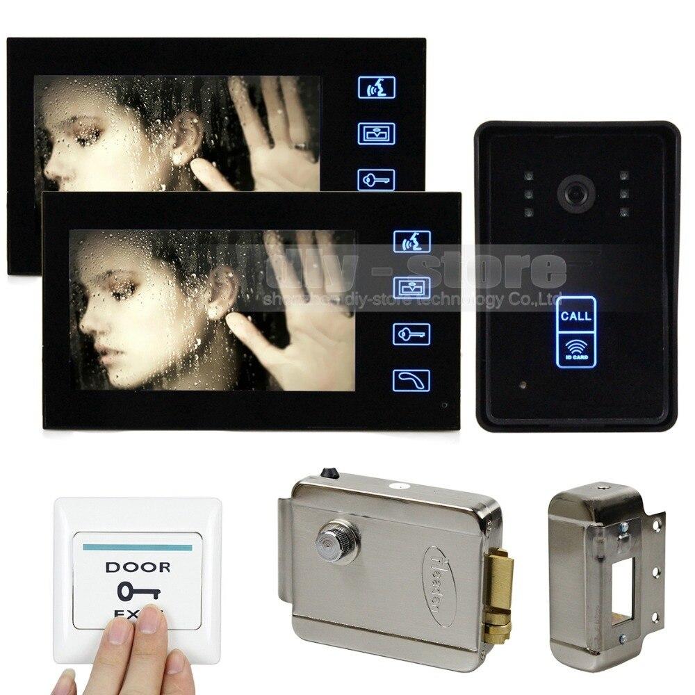 DIYSECUR Electronic Lock 7 Inch Monitor Touch Video Door Phone Intercom Doorbell Home Security IR Camera 125KHz RFID Keyfobs