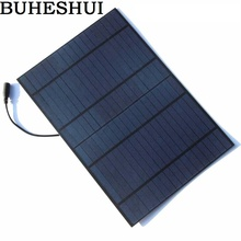 BUHESHUI PET 10W 18V Solar Panel Solar Modul Polycrystalline Solar Cell For 12V Battery Charger With 5521 DC Bus Free Shipping