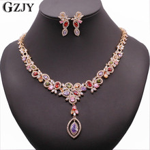 GZJY Luxurious Necklaces Earrings Jewelry Sets Exquisite Antique Gold Color Colorful Crystal Bridal Jewelry For Women Dress