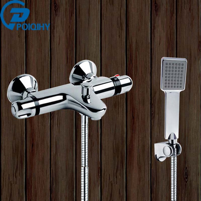 Thermostatic Bathtub Faucet & Hand Shower Bathroom Faucet Set Brass Mixer Tap With ABS Handheld Shower Wall Mount, Chrome Finish chrome finish dual handles thermostatic valve mixer tap wall mounted shower tap