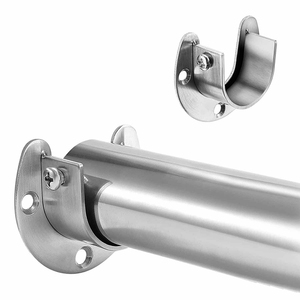 Stainless Steel Clothes Rail Closet Rail Curtain Rod Shower Curtain Closet U-Shaped Rod Closet Pole Sockets Flange End Supports(China)