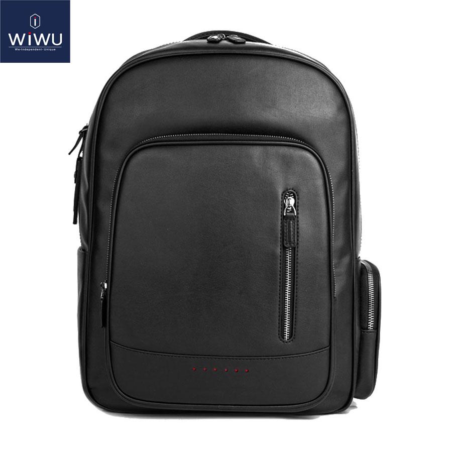WIWU Genuine Leather Laptop Backpack 15.6 Inch+Free Keyboard Cover Black Fashion Men's Backpacks for MacBook Pro 15 Bag