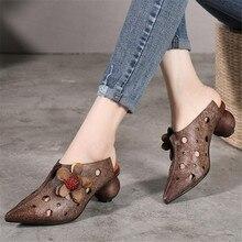 Женская летняя обувь из натуральной кожи на среднем каблуке, женские сандалии, шлепанцы ручной работы, шлепанцы, 18425
