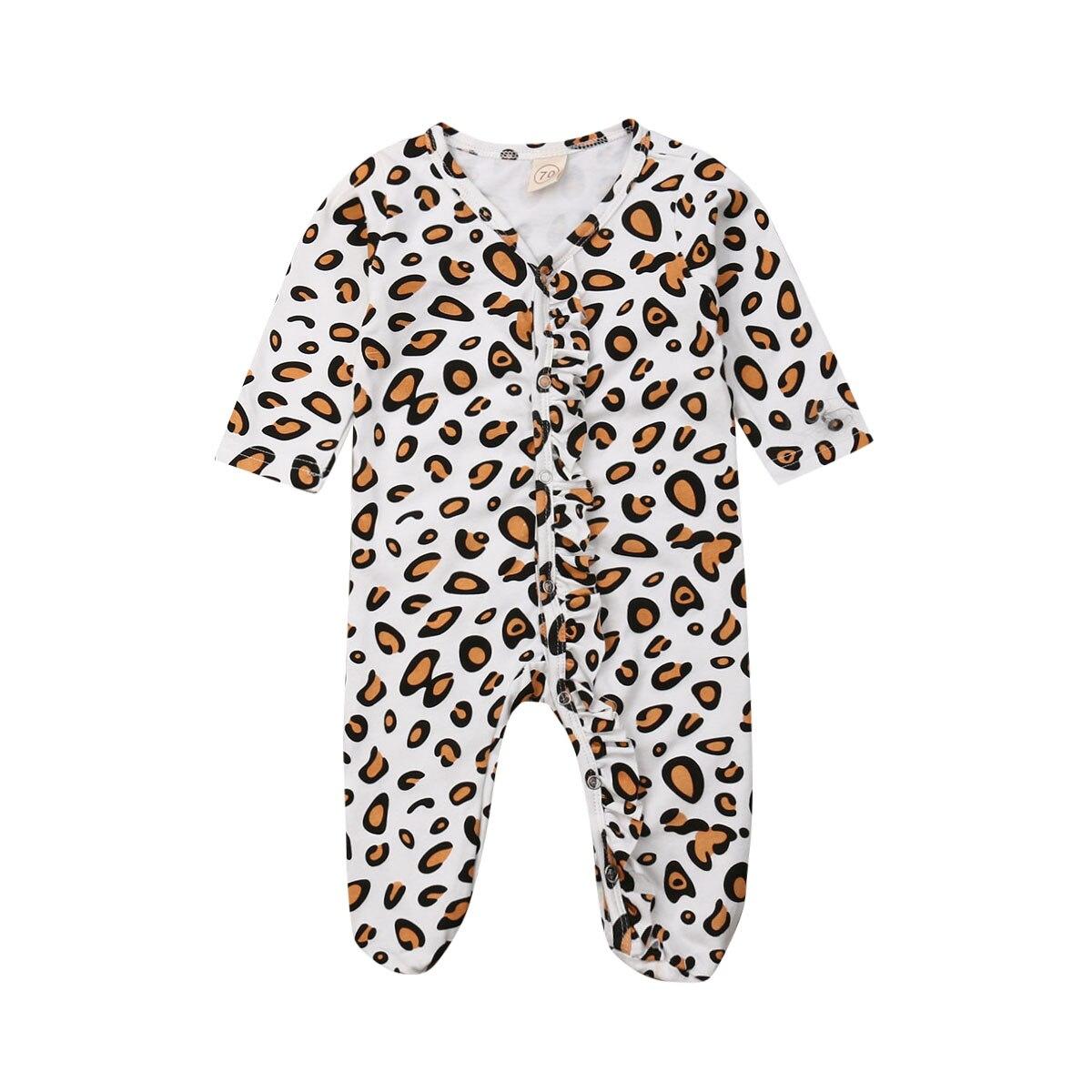 Newborn Infant Baby Girls Clothing Long Sleeve Footies Leopard  Ruffles Baby Girls Costumes