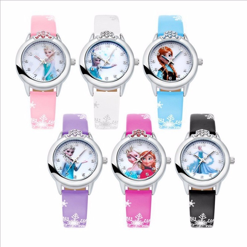 10 Units/lot Wholesales Kids' With Diamond Elsa Anna Watches For Girls Clock Leather Watch Birthday Gifts Relogio Wrist Watches