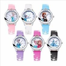10 единиц% 2Flot Wholesales Kids% 27 с Diamond Elsa Anna Часы для девочек Часы Кожа Часы День рождения Подарки Relogio Наручные Часы