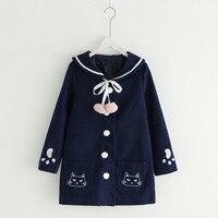 Mori Gir Vintage Long Coats Women Autumn Winter Lolita Kawaii Cat Female Outwear Wool Clothes Lovely Claw Navy Blue Overcoat