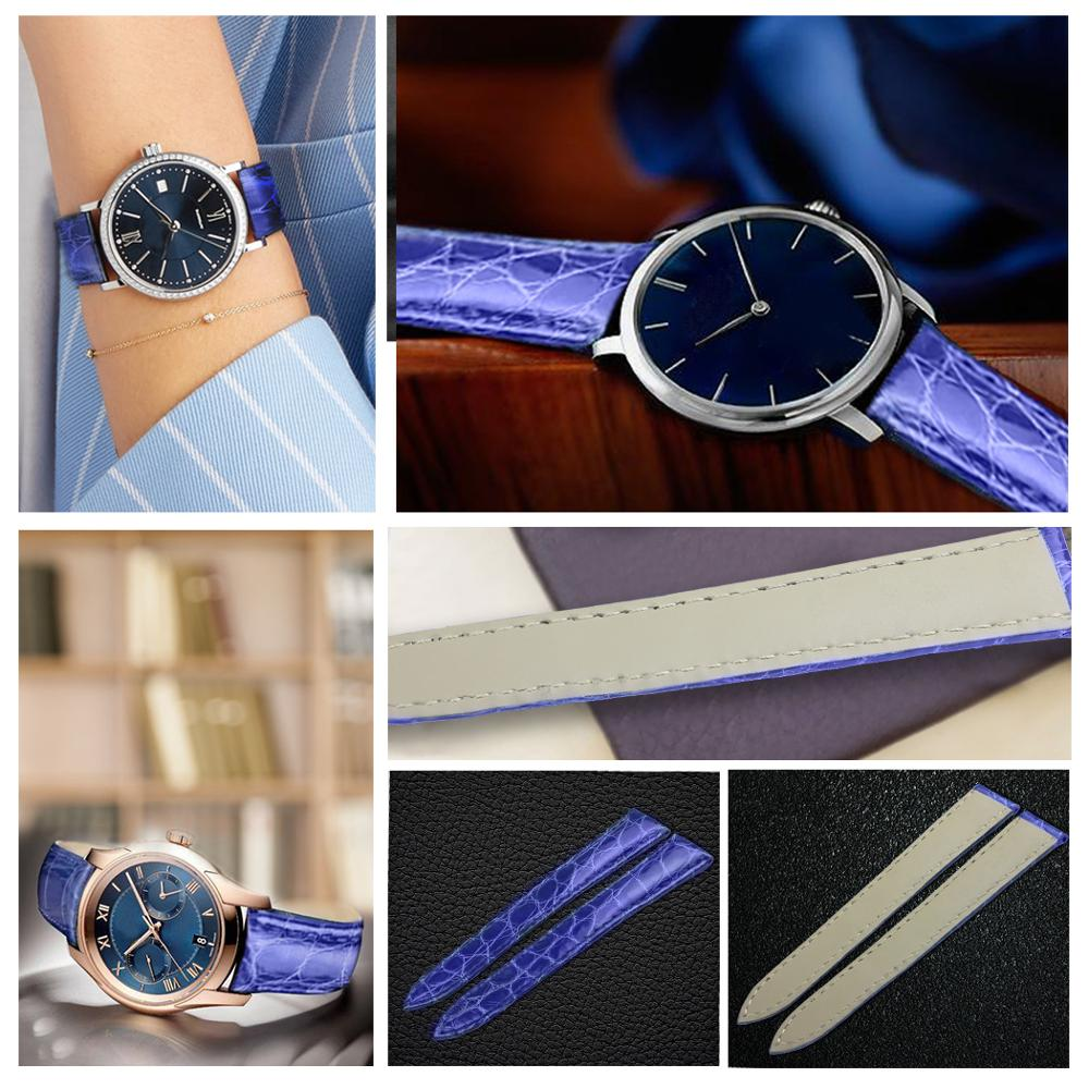 ZLIMSN Blue Real Crocodile Watch Band Size 12mm 26mm Comfortable Leather Lining Make Suitable For Men and Women in Watchbands from Watches