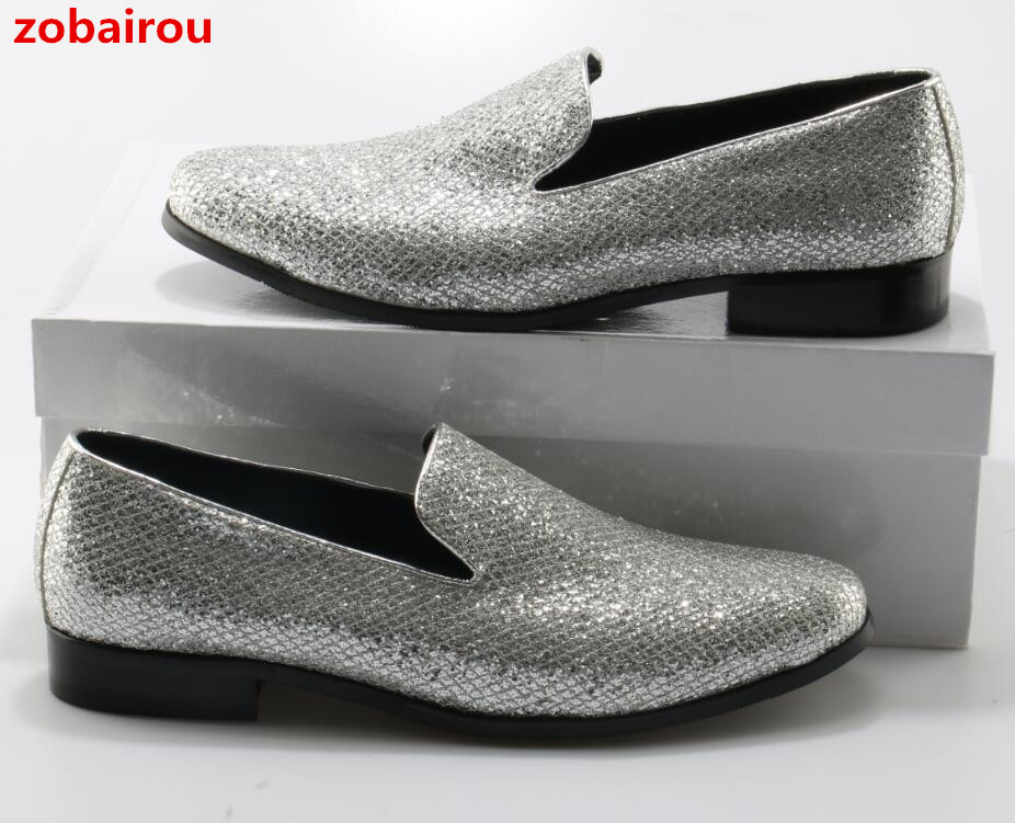 Zobairou New Casual Shoes For Men Bling Bling Glitter Silver Wedding Shoes Round Toe Slip On Sequin Man Loafers Size 46 2018 2017 new fashion men bling bling oxford shoes for men brand designer evening party dress shoes men s flats plus size 38 46