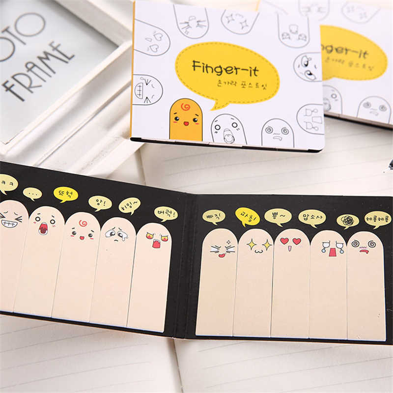 200 Halaman 1Pcs Kawaii Unik Scrapbooking Sepuluh Jari Sticker Bookmark Tab Bendera Memo Pad Marker Sticky Notes Alat Tulis Kantor