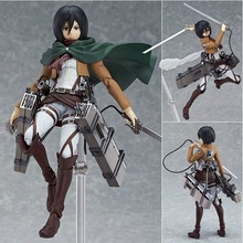 15CM Anime Figure Attack on Titan Figma Brinquedos 203 Mikasa Ackerman 6 PVC Action Collectible Model Doll Toy For Kids