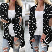 Spring Women Casual Patchwork Coats Outwear Long Sleeve Black_White Striped Cardigans Outwear S~XXXL Dropshipping 823(China)