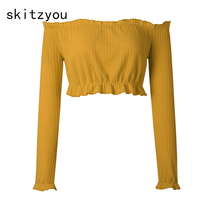 skitzyou 2017 Women Clothing Sexy Off Shoulder Slash Neck Long Sleeve Autumn Yellow Crop Top Basic Red White Short Black Cropped