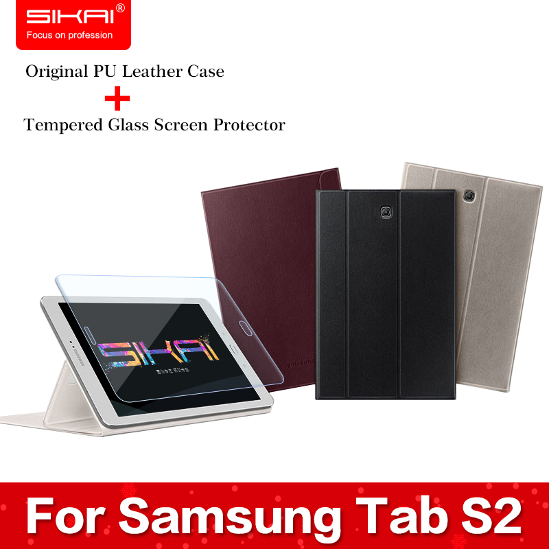 ФОТО Tempered Glass Screen Protector For Tab S2 + Original Leather Case For Samsung Galaxy Tab S2 Case For Samsung T710/T715C 8.0''