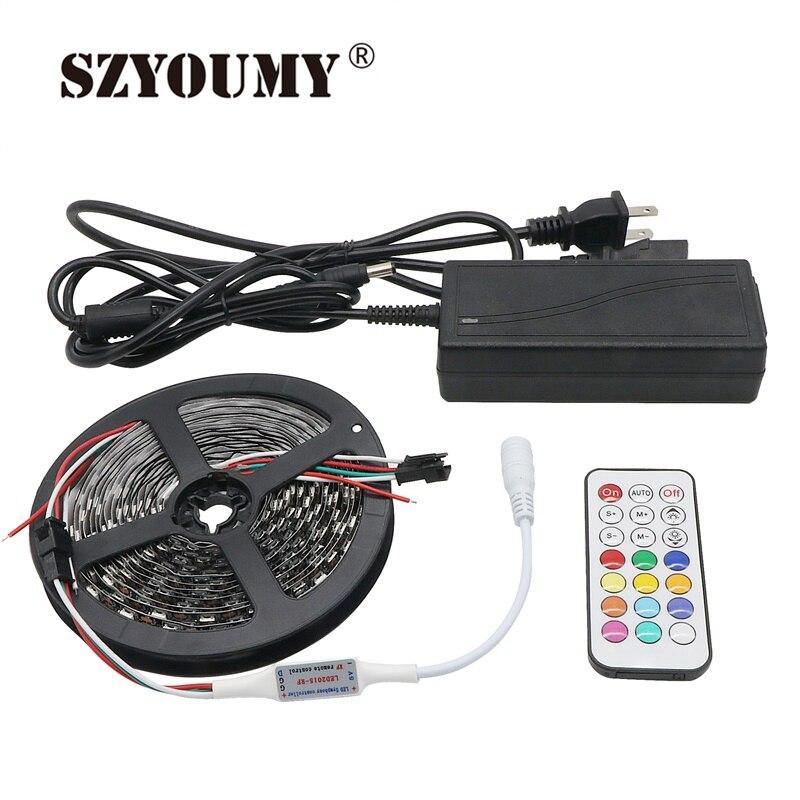 SZYOUMY DC 5 V 5 M 60 LED s/M WS2812 bande de LED intelligente 5050 RGB rêve couleur Pixel IC numérique adressable individuellement lumière LED