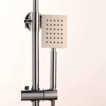 JIENI 8 Inch Chrome Polish Rainfall Wall Mount Ultrlthin Shower Head Mixer Faucet Bathroom Adjust Height Handheld Shower Faucet