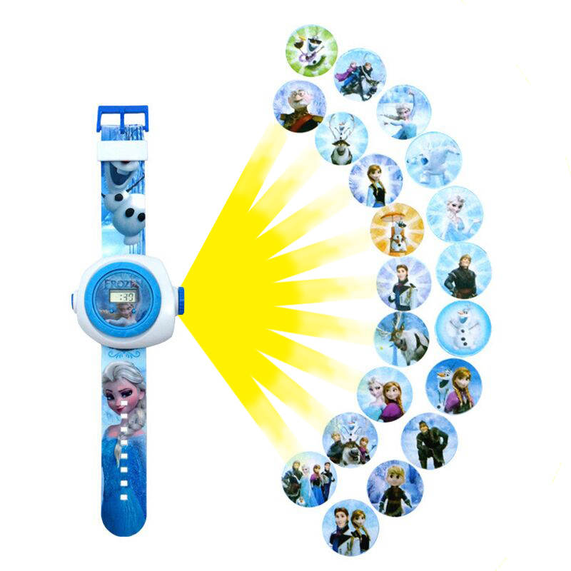 Fashion Toys Cartoon 20 3D Projection Watch Elsa/Batman/Hello Kitty/Iron Man/ Led Digital Projector Watches Children Gift hello kitty clock women dress watch hello kitty cartoon watches stainless steel watch women rhinestone watches kids