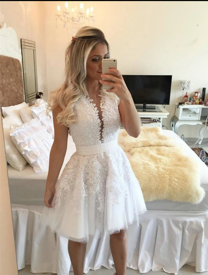 New Arrival White Lace Short   Prom     Dresses   Sleeveless Pearls Sheer Back Knee Length Evening   Dress   Party   Dress   Formal   Dress