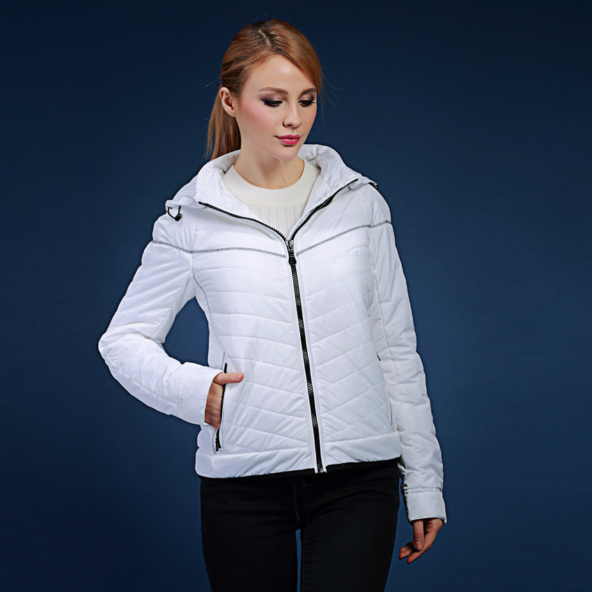 Women s winter coats 2017 spring and autumn short design Slim hooded white warm jacket plus