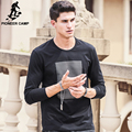 Pioneer camp negro de manga larga camiseta de los hombres 2017 nuevo moda marca clothing hombres camiseta moda masculina camiseta de algodón elástico 699045