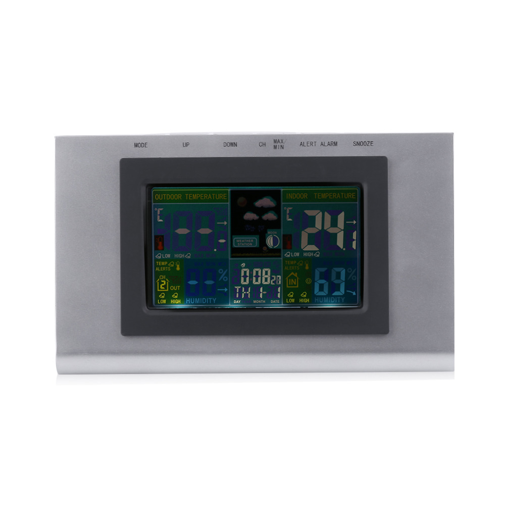 Professional Weather Forecast Station Clock LCD Screen Digital Indoor Outdoor Temperature Display Wireless Alarm Wall Clock