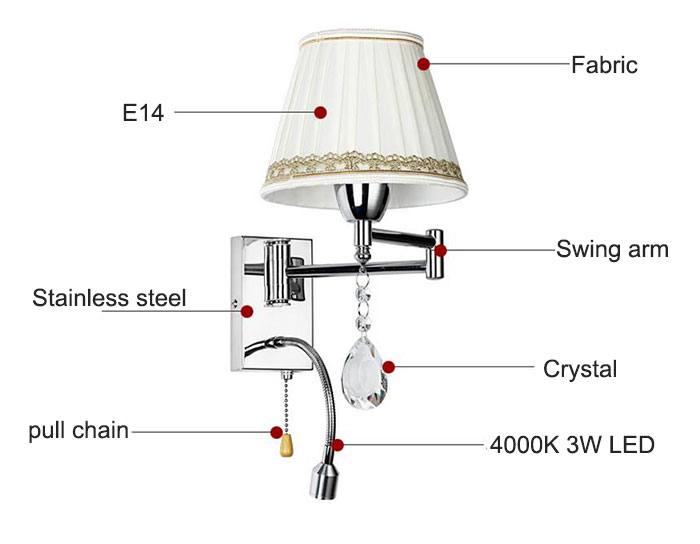 led bedside lamp living room bedroom modern led gooseneck wall lamp industrial fabric lampshade hotel project pull chain lightsin wall lamps from lights