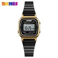 SKMEI Marca de Luxo Relógio feminino Do Esporte À Prova D' Água LED Eletrônico Relógios femininos Digital Subiu Senhoras de Ouro Relógios de Pulso relogio feminino|Relógios femininos| |  -