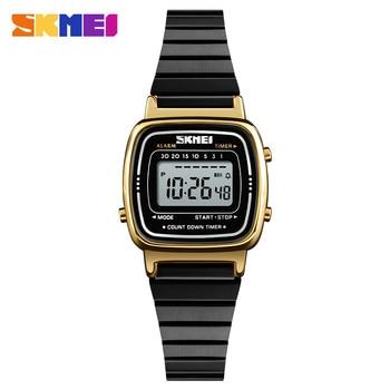 0ce0bbb9ad7e SKMEI marca de lujo deporte relojes para mujer electrónico impermeable LED  Digital Reloj mujeres oro rosa de las señoras reloj mujer