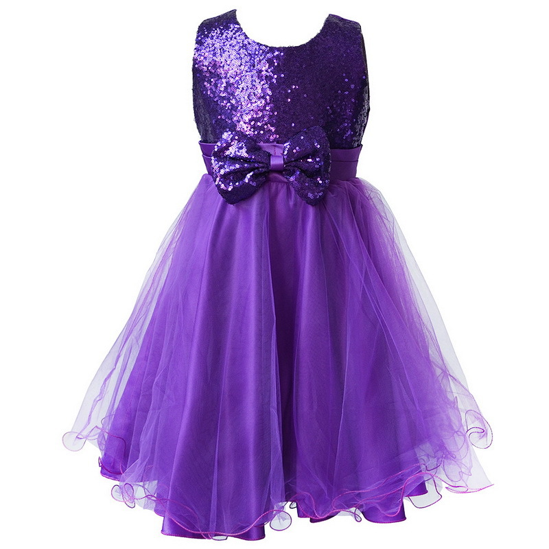 BAOHULU Kids Girls Dress Sequined Bow-Knot Birthday Party Dresses Children Girl Fancy Princess Ball Gown Wedding Clothes Purple princess children girls dress printed ball gown long sleeve kids party dresses l16