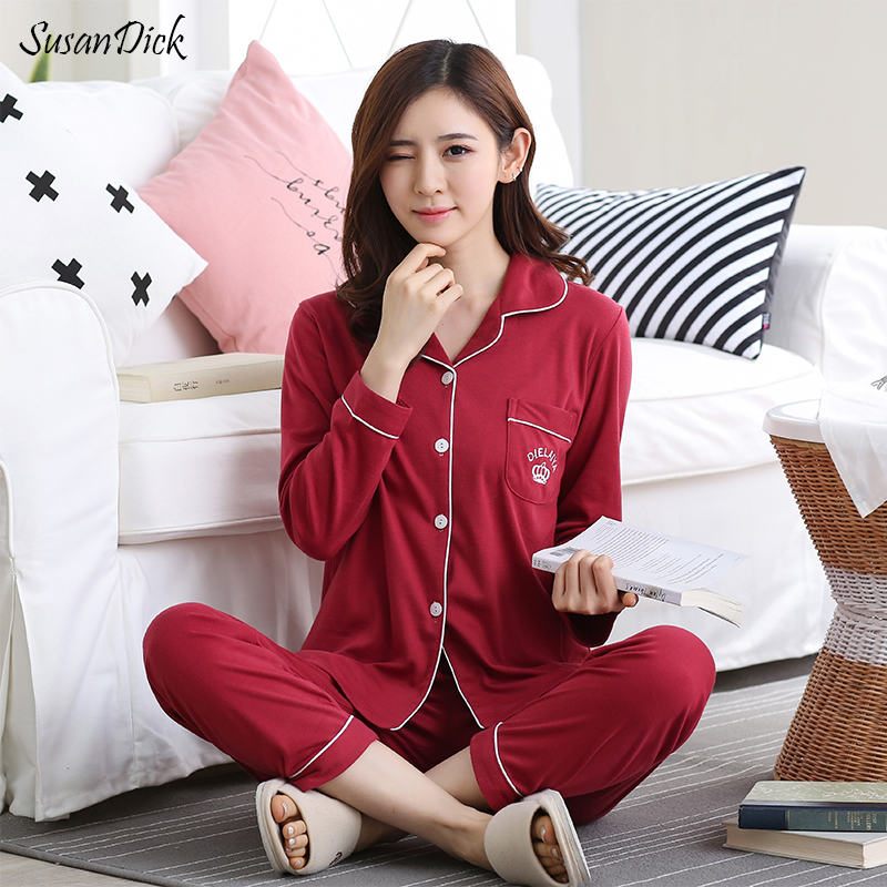 SusanDick 2017 Autumn Women Cotton Pajama Sets Embroidery Ladies Long  Sleeve Pajamas Night Suit Female Red Cute Winter Sleepwear 0f7d10cfc