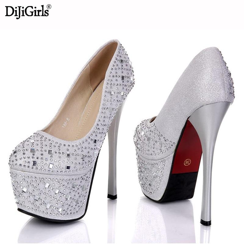 Dhigirls Womens platform wedding shoes luxury thin high heels pumps 2017 Rhinestones peep toe high heels gold/silver/black