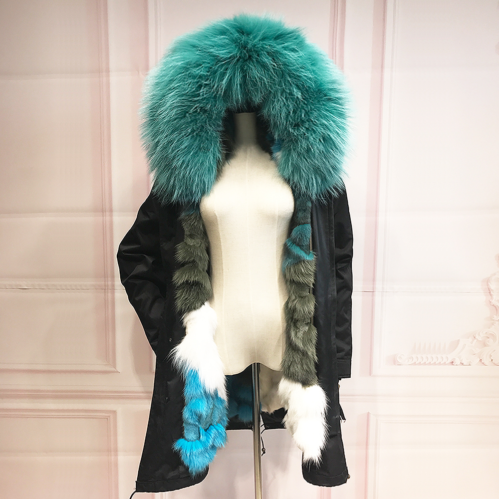 Real Fox Fur Liner winter jacket women parka fur coat big raccoon fur collar hooded parkas thick outerwear colorful stree style printed long raccoon fur collar coat women winter real rabbit fur liner hooded jacket women bomber parka female ladies fp896