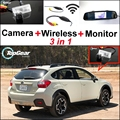 3 in1 Special Rear View Camera + Wireless Receiver + Mirror MonitorBackup Parking System For Subaru XV Crosstrek