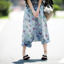 2017 Spring Summer Calf Length Wide Leg Trousers Fashion Women Flower Print Wash Ripped Jeans Cross-Pants