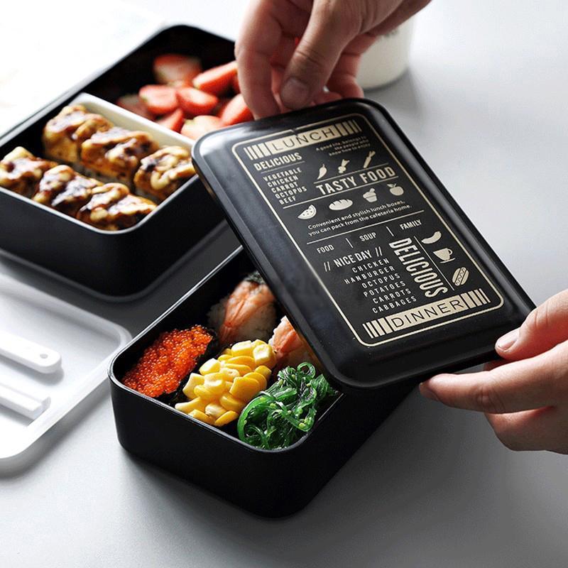 2 Layer Japanese Style Bento Box Microwave Kids Child Portable Lunch Box Plastic Food Containers Kitchen Dinnerware Sets