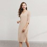 Miyake yi shang Fold V neck Dress Beans Green Loose L Crimp Dress Was Thin Temperament Female Long Section