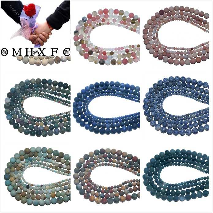 OMH Wholesale 4 6 8 10 MMDull Polish Matte Natural Stone Bead  Amethysts AgatesJewelry Making Charm DIY Bracelet Necklace ZZ02